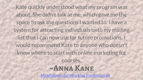"""""""Kate quickly understood what my program was about. She didn't talk at me, which gave me the space to ask the questions I wanted to. I have a system for attracting individuals onto my mailing list that I can now use for future promotions. I would recommend Kate to anyone who doesn't know where to start with online marketing for courses."""""""